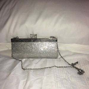 Silver clutch with diamonds
